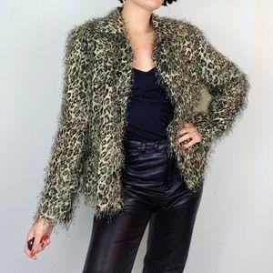 """90's """"eyelash"""" fuzzy leopard print jacket"""